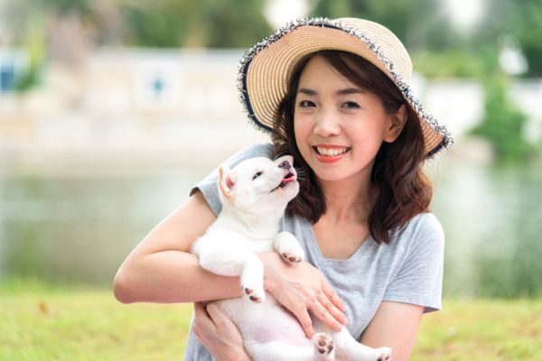 perros-hokkaido-cachorro-beso-a-mujer-istock