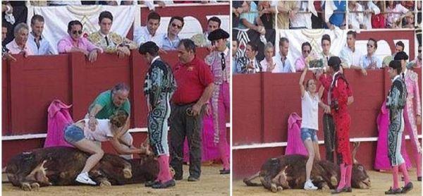Una mujer salta al ruedo a consolar a un toro y será premiada por la organización PETA